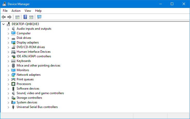 Windows device manager showing all drivers on single page