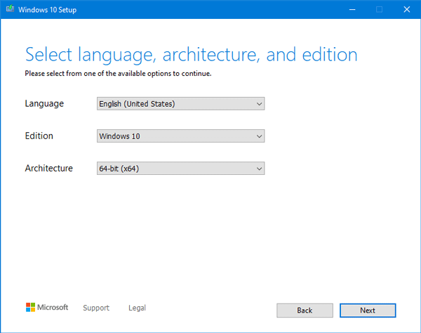 select the language, architecture, and edition to download Windows 10 ISO using Media Creation Tool