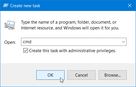 Run Command Prompt in elevated mode from Task Manager