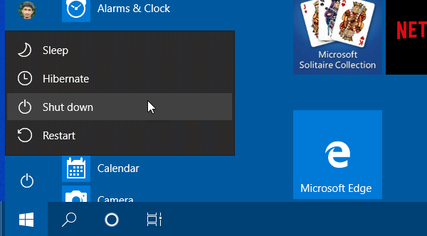 Use Start Menu to turn off or restart your computer