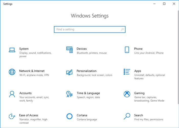 Windows Settings panel