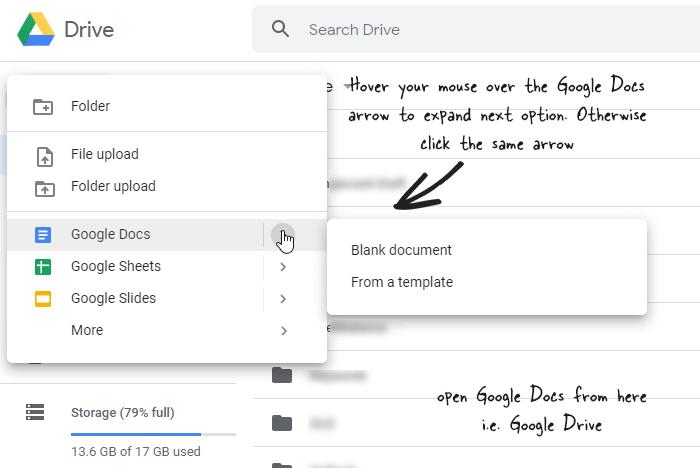 open Google Docs from Google Drive