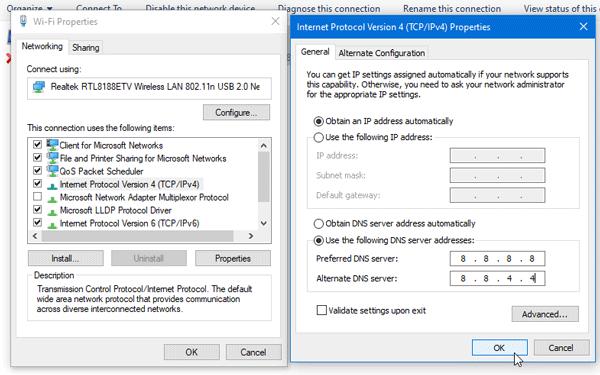 change preferred dns server on windows 10