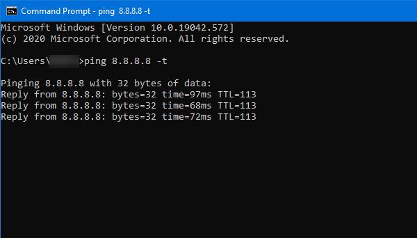 check ping status on windows 10