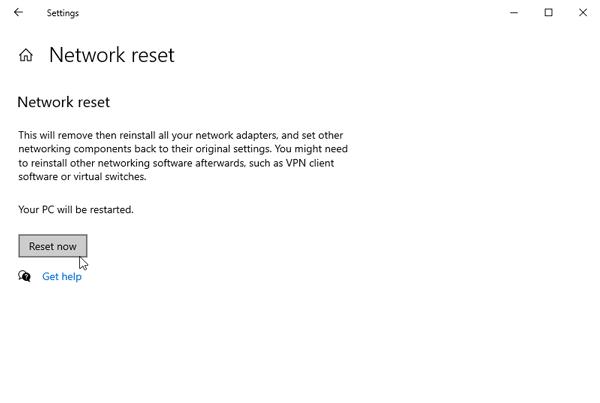network reset windows laptop