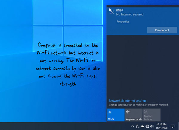 wifi is connected but no internet access on windows 10 laptop computer