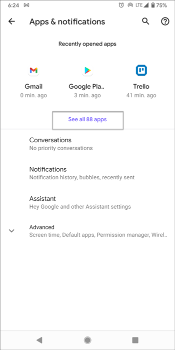 open all apps in android settings