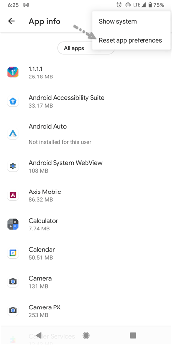 reset app preferences on android